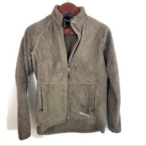 Marmot Fuzzy Fleece Sweatshirt Jacket Taupe L